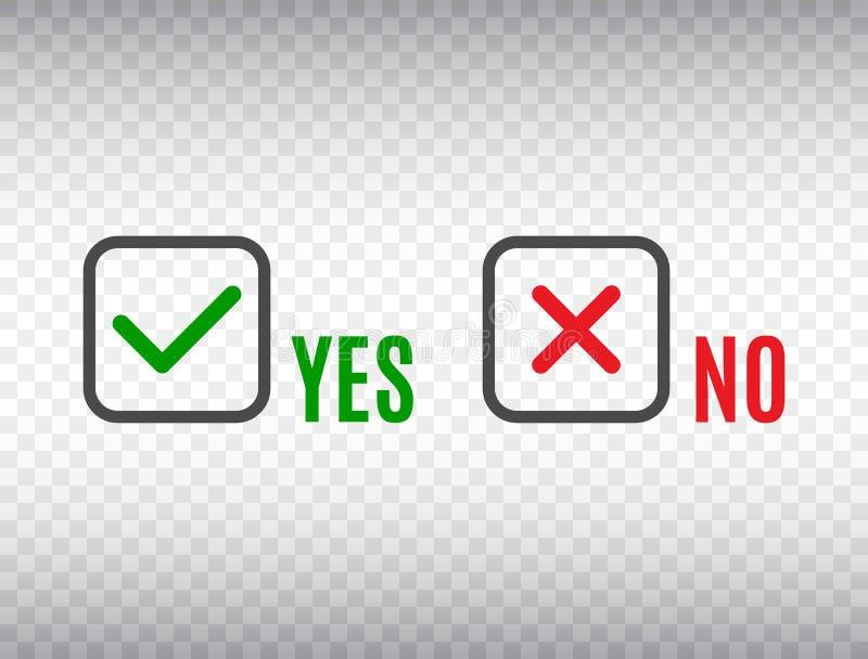 JA eller INGET acceptera och gå ned symbolet Uppsättning för kontrollfläckar på genomskinlig bakgrund Annulleringsnedgång Grön fä royaltyfri illustrationer