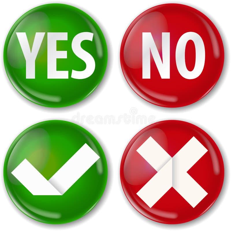 Ja eller inte vektor illustrationer