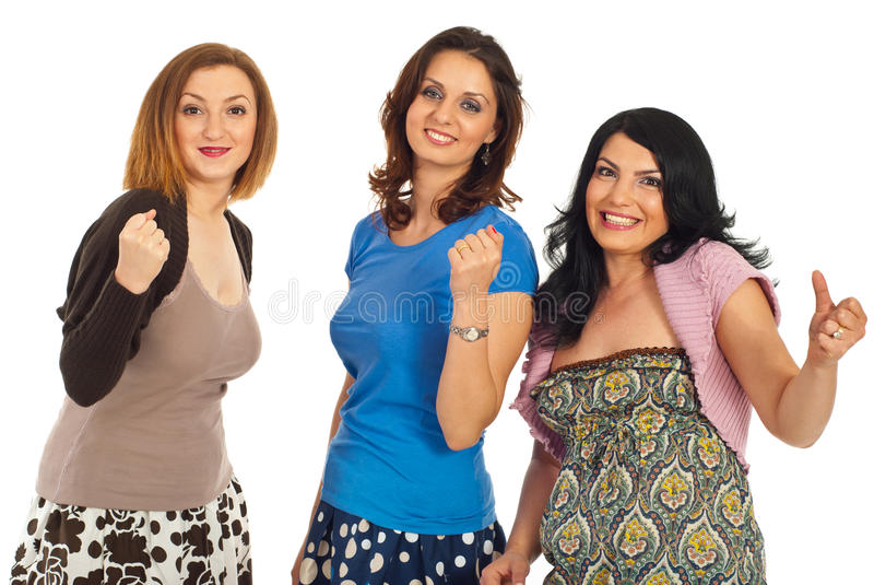 Ja! Erfolgreiche Frauen, die zusammen zujubeln lizenzfreie stockbilder
