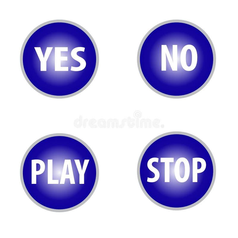 Ja färgar ingen fästing och lek, stoppknappar i blått isolerat på vit bakgrund vektor illustrationer