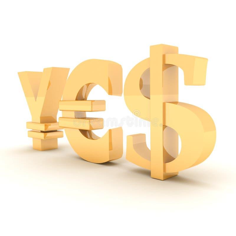 JA från tecken yen, dollar och euro på en vit royaltyfri illustrationer