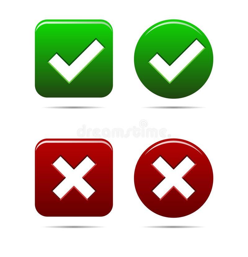 Ja gör grön inga knappar ett rött royaltyfri illustrationer