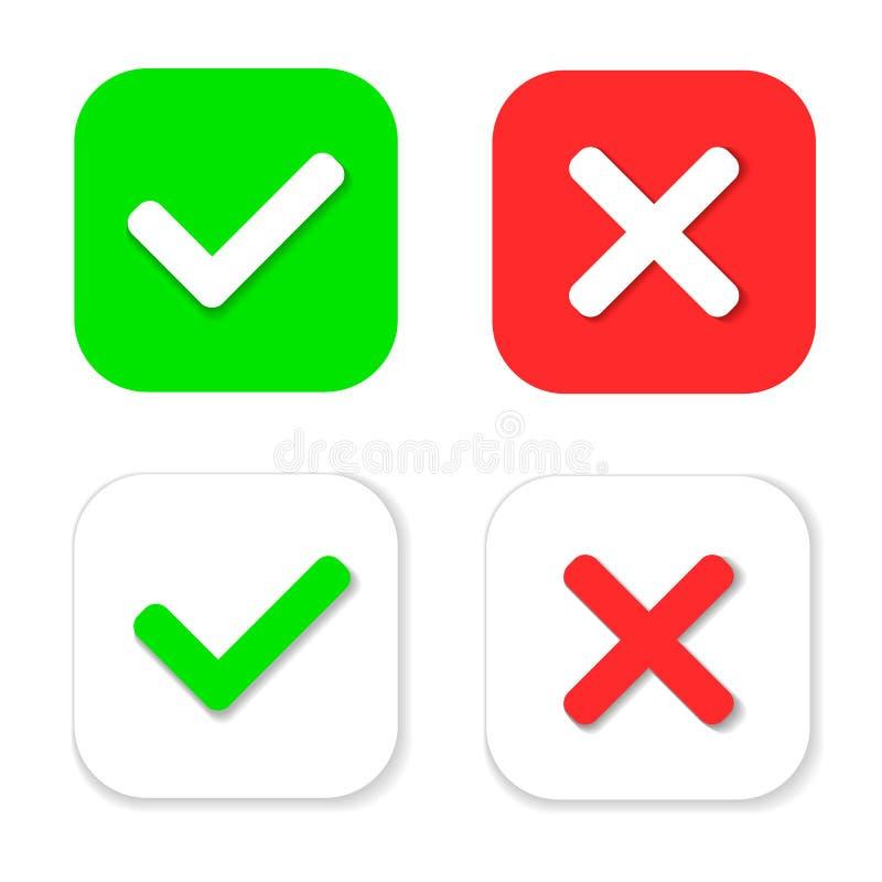 Ja of Geen pictogrammen Groen vinkje en rood kruis geïsoleerd pictogram stock illustratie