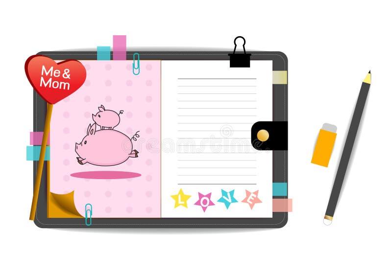 Ja i mamy świnie z miłością różowią notatnika ilustracja wektor