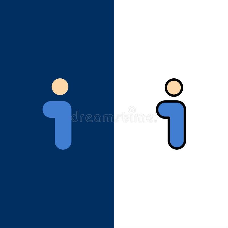 Ja, informacja, informacja, interfejs ikony Mieszkanie i linia Wypełniający ikony Ustalony Wektorowy Błękitny tło royalty ilustracja