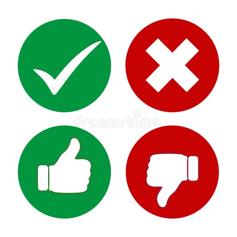 Ja inte, tummar uppåt- och neråt symboler Grön och röd tummesymbol upp och ner royaltyfri illustrationer