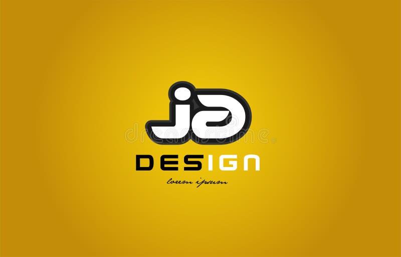 ja j在黄色backgr的字母表字母组合数字白色 库存例证