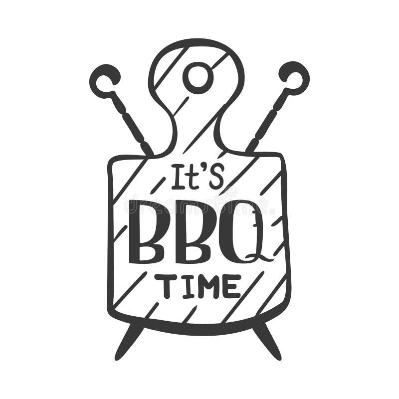 Ja jest bbq czasem Modnisia logo i emblemat restauracyjny grill na tle tnąca deska i skewers rabatowy bobek opuszczać dębowego fa ilustracja wektor