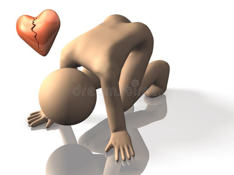Ja jestem w rozpacza zawód miłosny. ilustracji