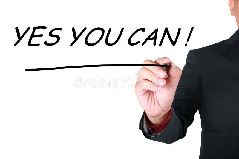 Ja können Sie, Motivwort-Zitat-Konzept stockbild