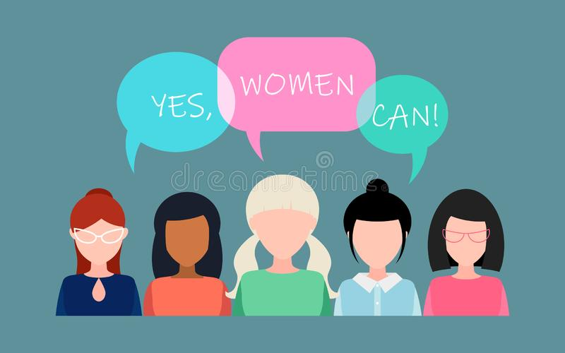 Ja kan kvinnor! Symbol av kvinnlig makt, kvinnar?tter, protest, feminism vektor vektor illustrationer