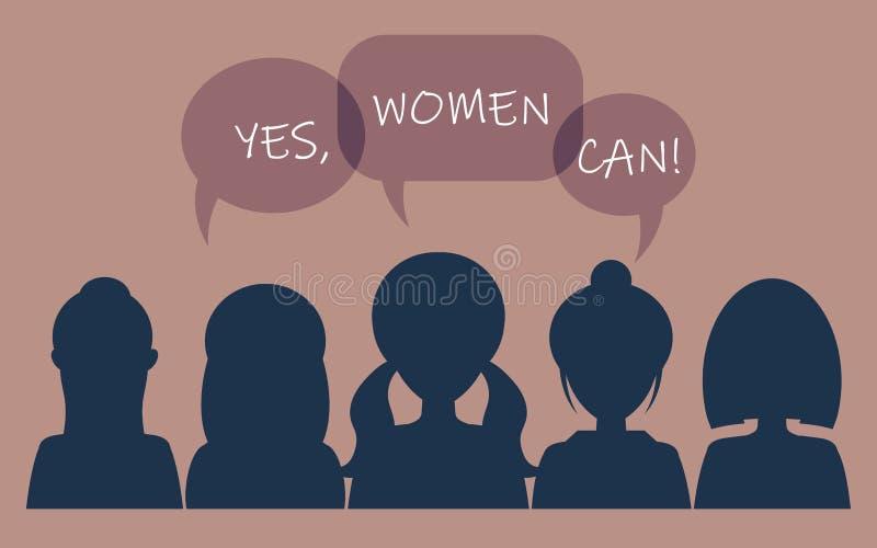 Ja kan kvinnor! Symbol av kvinnlig makt, kvinnar?tter, protest, feminism vektor stock illustrationer