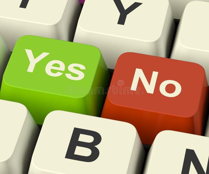 Ja keine Schlüssel, die online Ungewissheit und Entscheidungen darstellen stockfotografie