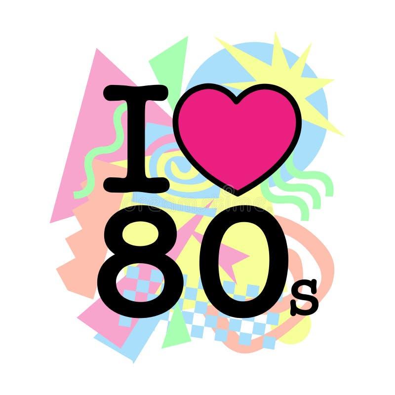 Ja kocham starego 80's styl royalty ilustracja