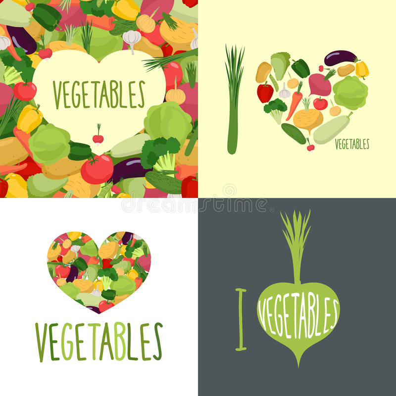 ja kocham warzywa Set logowie dla karmowych kochanków royalty ilustracja