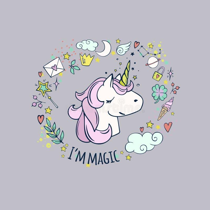 Ja ` m magia śliczna jednorożec royalty ilustracja