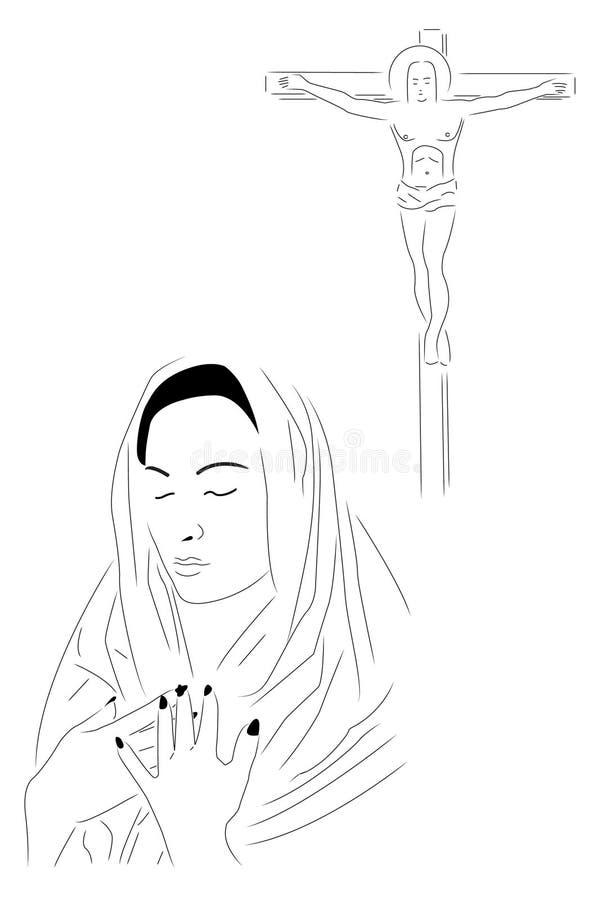 ja modli się ilustracja wektor
