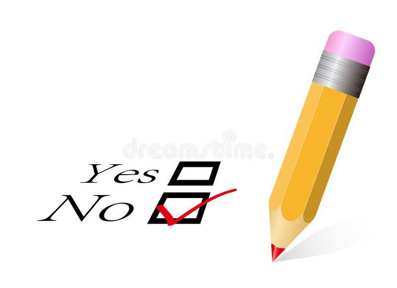 Ja/nee Stem zonder Gecontroleerd vector illustratie