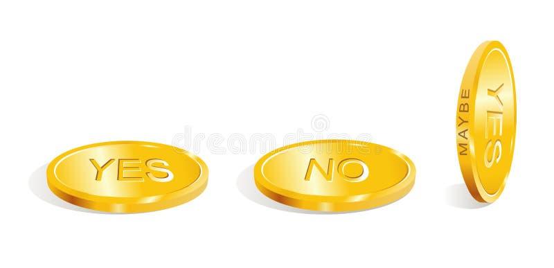 Ja-neen - misschien/keur het besluit/de vector goed vector illustratie