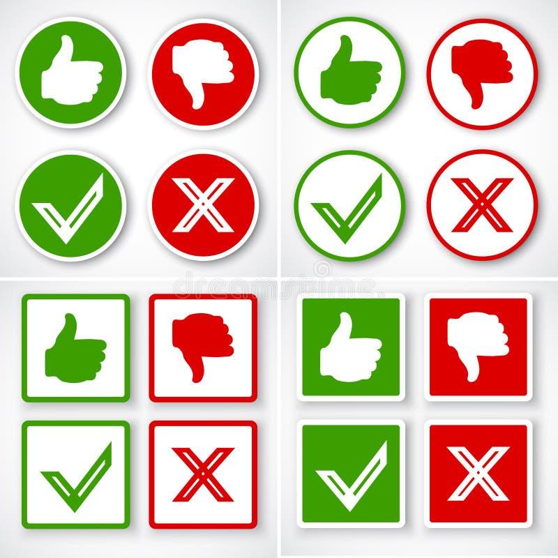 Ja, Nr, Duimen boven en beneden pictogrammen zoals en in tegenstelling tot symbool royalty-vrije illustratie