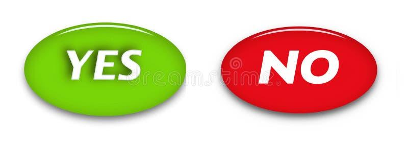Ja och inga ordknappar som isoleras på den vita backgroundVectorrengöringsduken, underteckna symboler stock illustrationer