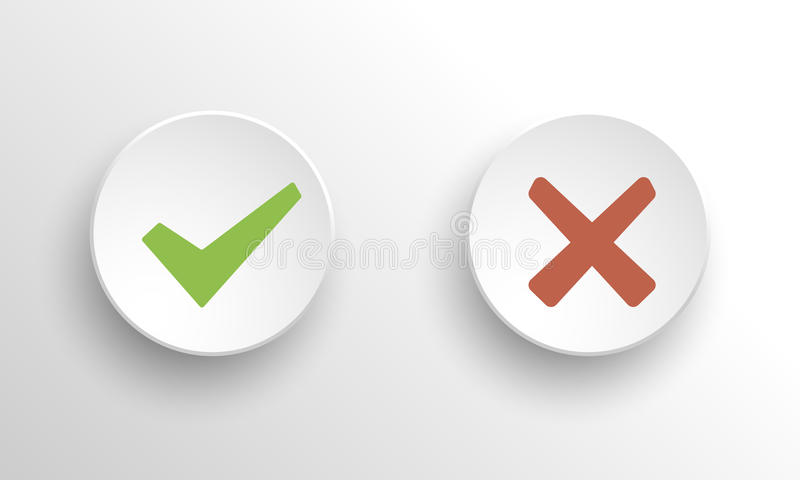 Ja och ingen kontroll marks2 stock illustrationer