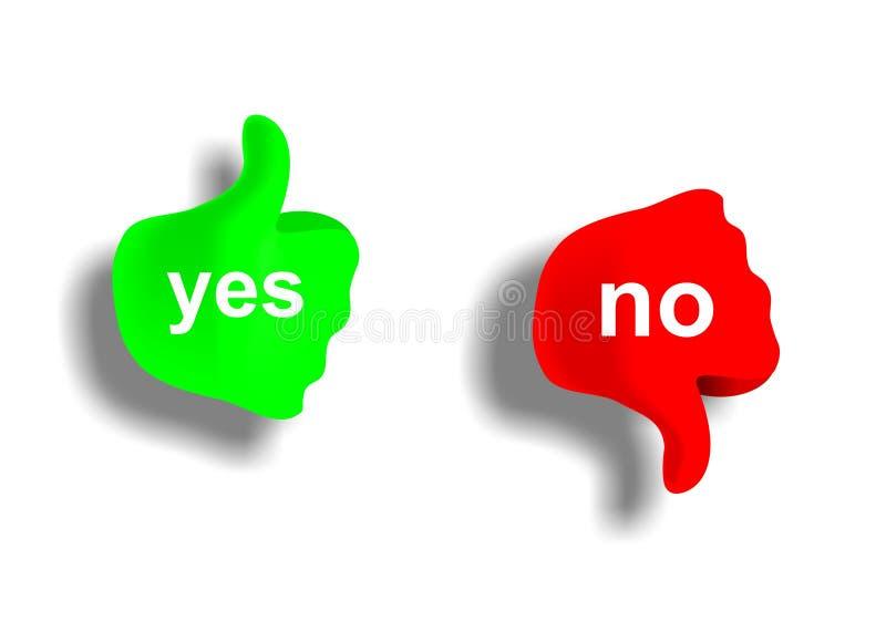 Ja och nr. stock illustrationer