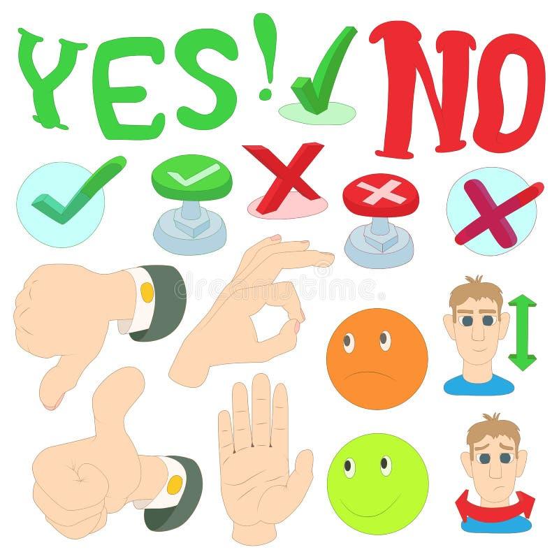 Ja oder keine Ikonen stellen Sie, Karikaturart ein lizenzfreie abbildung