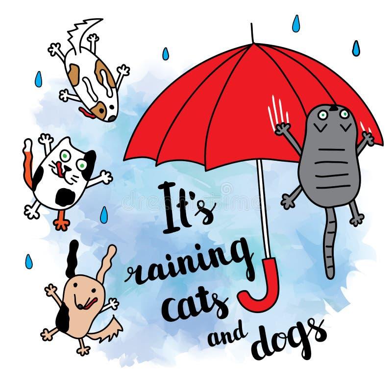 Ja pada kotów i psów jesieni kartę ilustracja wektor