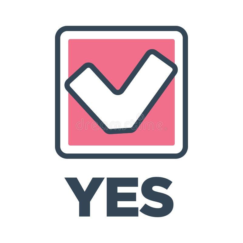 Ja röstar fläcken i ask beslutssymbolscloseupen royaltyfri illustrationer