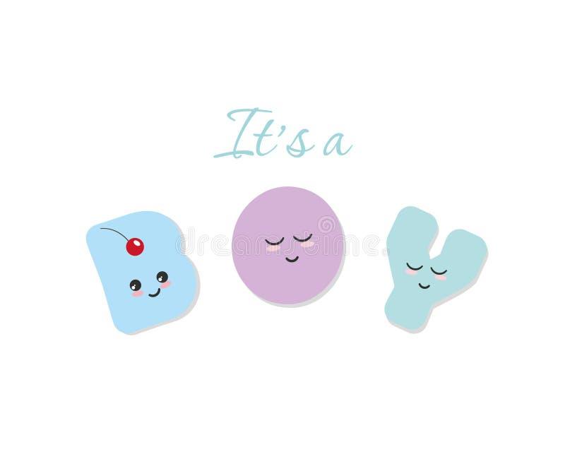 Ja ` s chłopiec dziecka prysznic Kawaii śmiali kolorowi listy Śliczni majcherów emoticons ilustracji