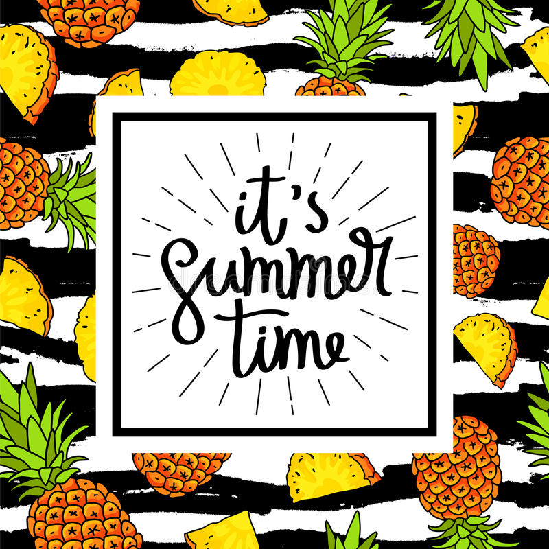Ja ` s lato barwniki ilustracji obrazu ananasa wody ilustracji