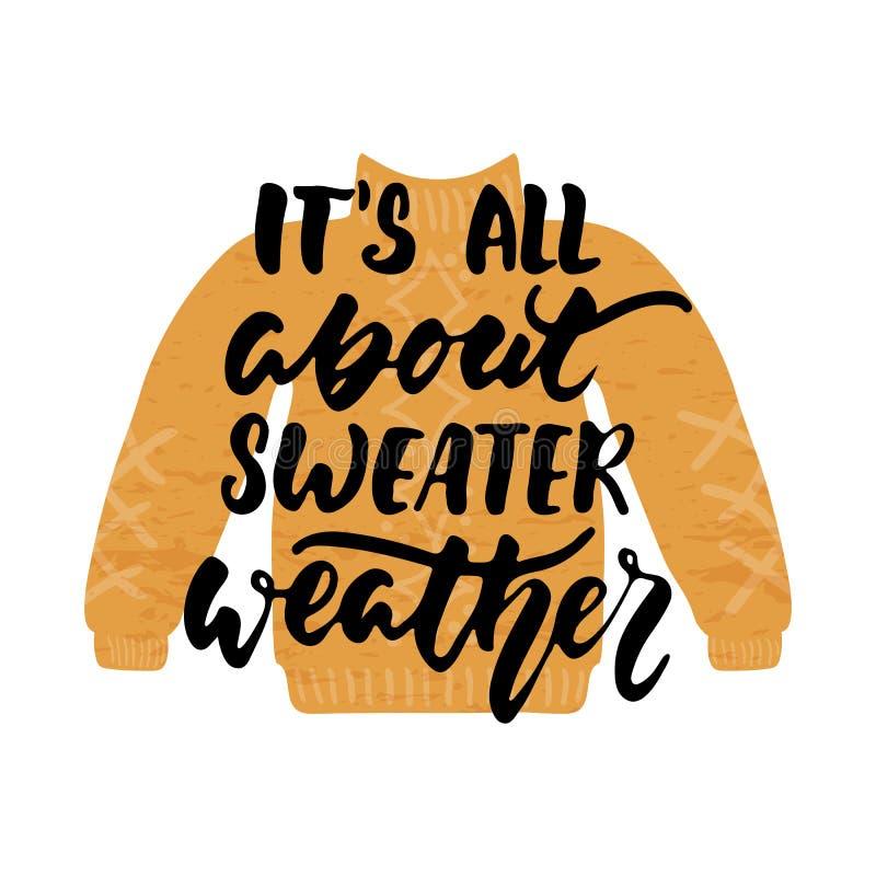 Ja ` s wszystko o pulower pogodzie - ręka rysujący wygodni jesień sezony pisze list zwrot i Hugge doodles odosobnionego na białym royalty ilustracja
