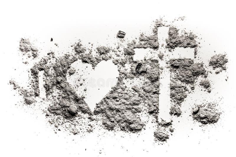 Ja, serce, krzyż i krucyfiksu rysunek w popióle, fotografia royalty free