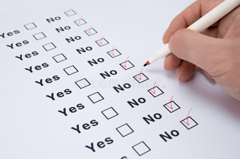 Ja und keine Checkbox-Markierung stockbild