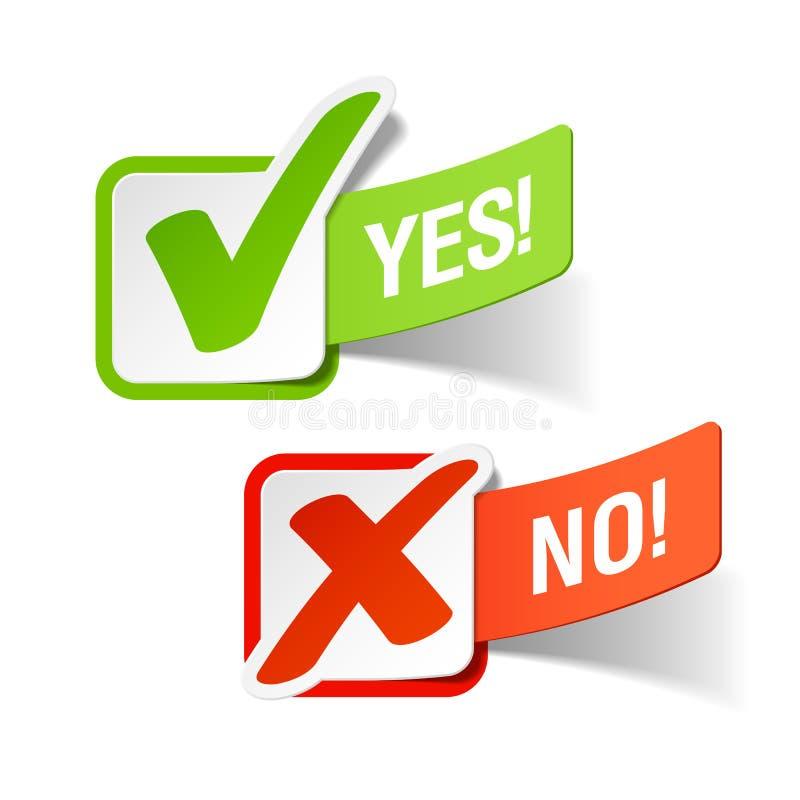 Ja und keine Checkmarkierungen stock abbildung