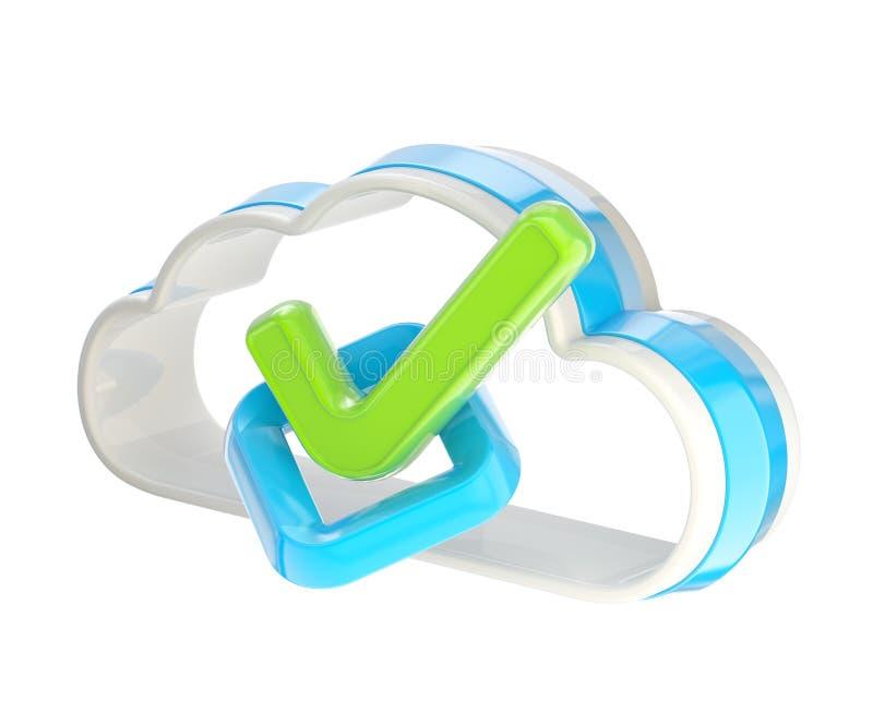 Ja Wolken-Technologieikone des Häckchens innere lizenzfreie abbildung