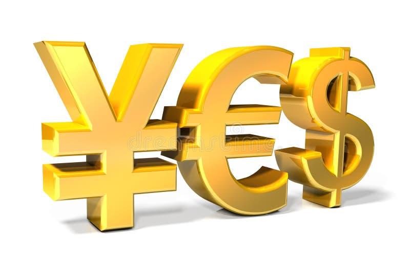 Ja - Yen, Euro, Dollar gouden pictogrammen stock illustratie