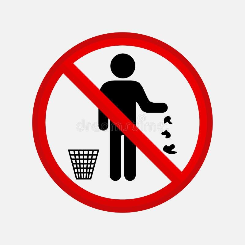 Ja zakazuje rzutu śmieci ilustracji