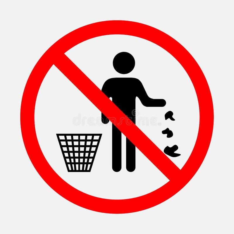 Ja zakazuje rzutu śmieci royalty ilustracja