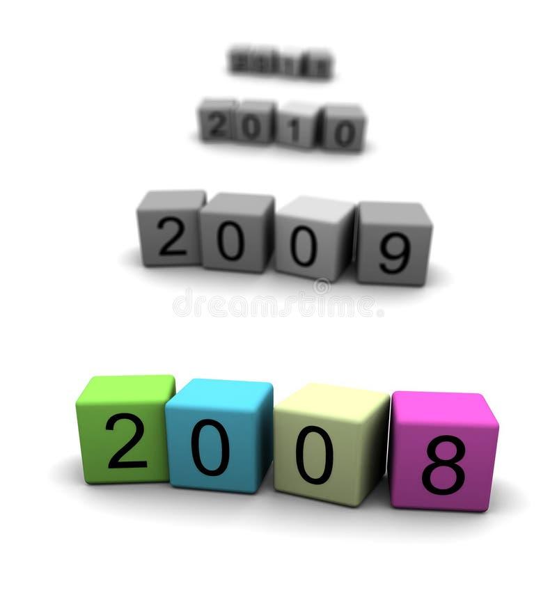 Jaar 2008 - 2009 - 2010 - 2011 stock illustratie