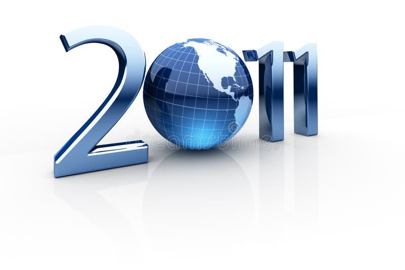 Jaar 2011 samengesteld uit aantallen en bol als nul vector illustratie