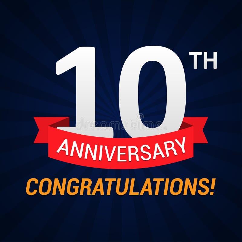 10 jaar als achtergrond van de verjaardagsviering met rood lint stock illustratie