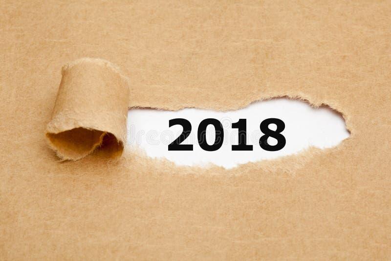 Jaar 2018 Gescheurd Document Concept stock fotografie