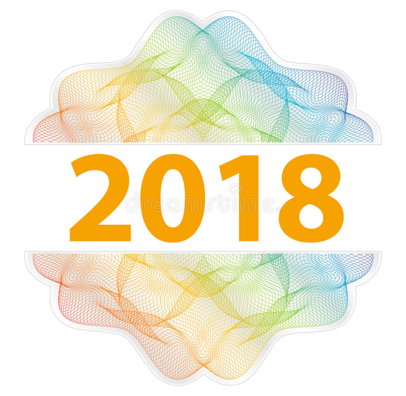 2018 Jaar - Guilloche rozet met tekst op witte achtergrond royalty-vrije illustratie