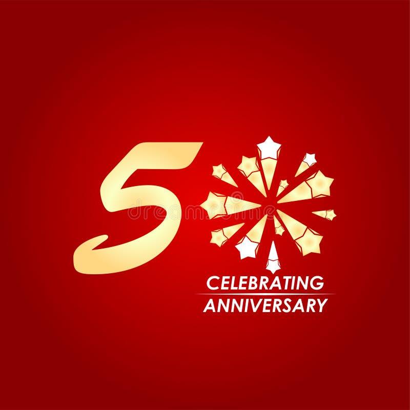 50 jaar het Vieren het Ontwerpillustratie van het Verjaardags Vectormalplaatje stock illustratie