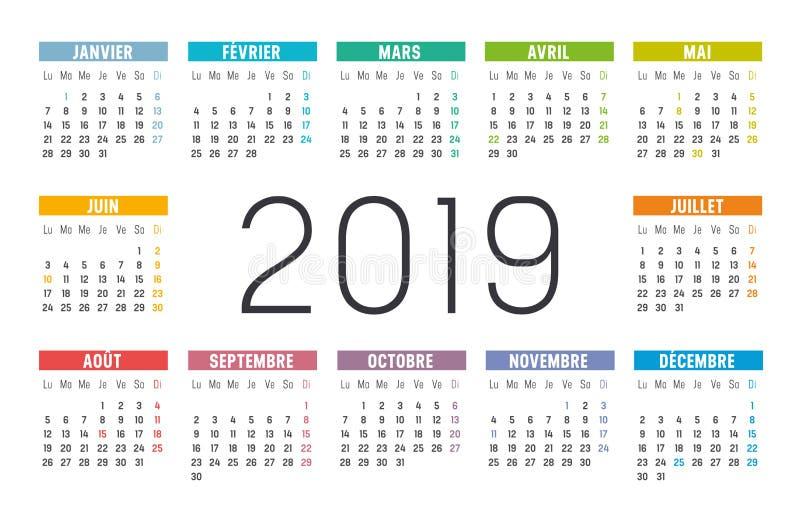 Jaar 2019 kalender in het Frans stock illustratie