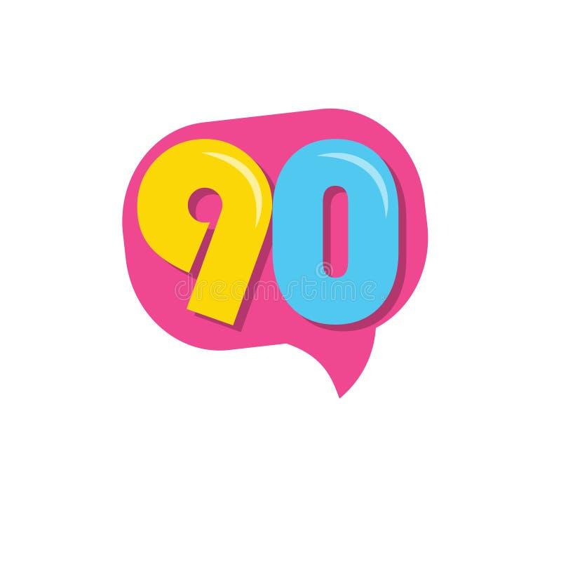 90 jaar Kids de Illustratie van het Ontwerp van het VectorMalplaatje van de Verering van de Verjaars vector illustratie