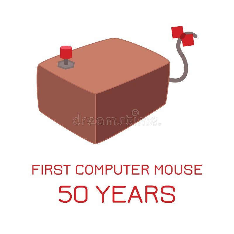 1968 - 50 jaar van computermuis Eerste annivers van de computermuis stock afbeeldingen