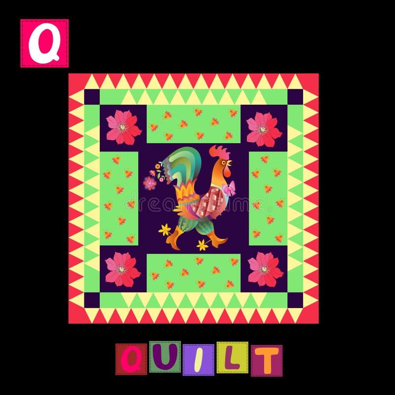 Jaar van de Haan Leuk beeldverhaal Engels alfabet met kleurrijk beeld en woord Jonge geitjes vectorabc Brief Q royalty-vrije illustratie